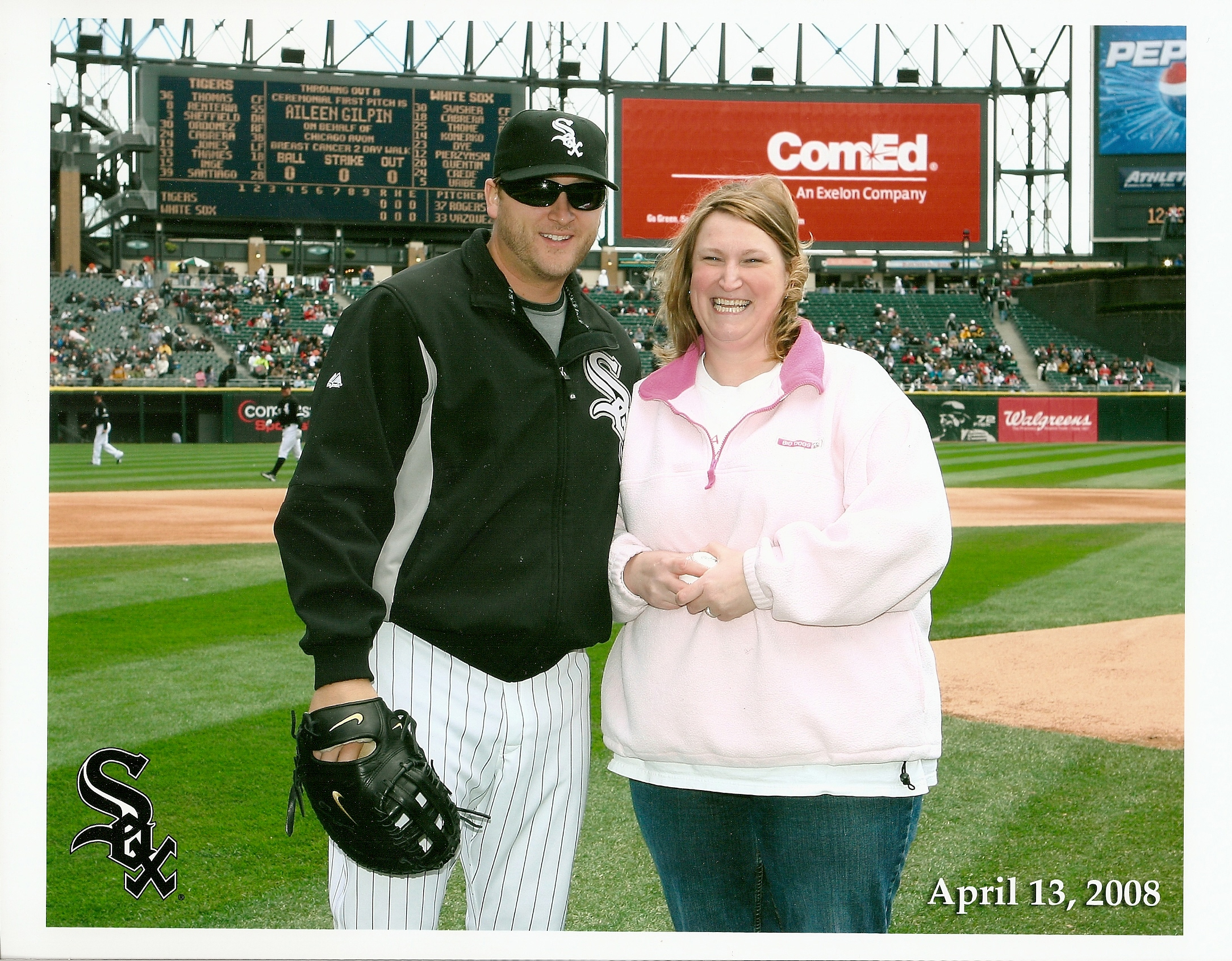 Aileen Gilpin with Mark Buehrle of Chicago White Sox